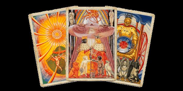 Таро Тота - Солнце, Влюбленные, Колесничий