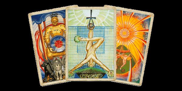 Таро Тота - Колесничий, Повешенный, Солнце
