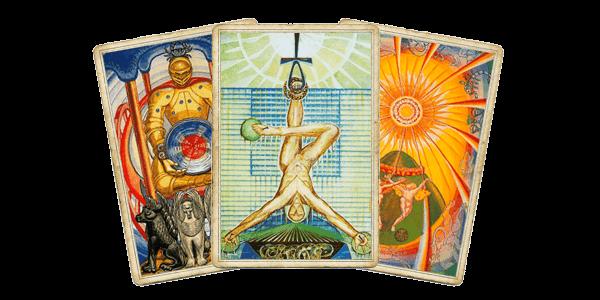 Таро Тота – Колесничий, Повешенный, Солнце