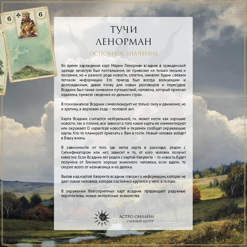 Карточки по Ленорман: Тучи