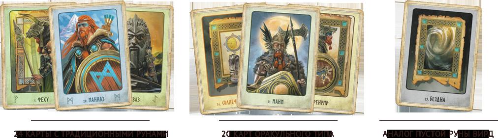 24 карты с традиционными рунами, 20 карт оракульного типа, и аналог пустой руны Вирд