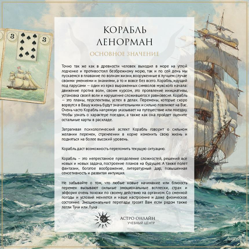 Карточки по Ленорман: Корабль
